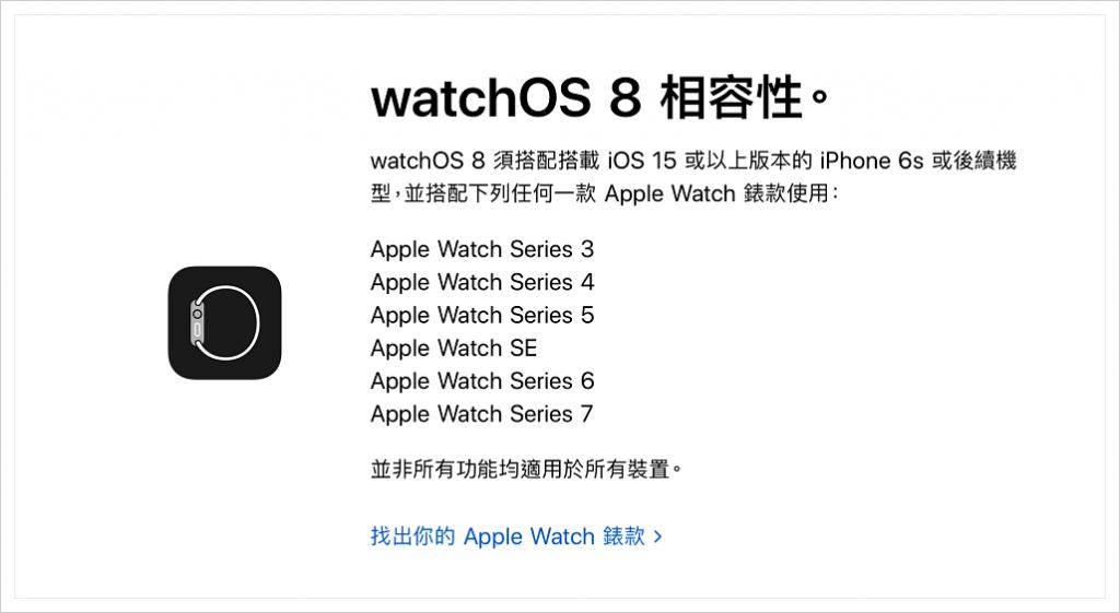 watchOS 8 適用機型