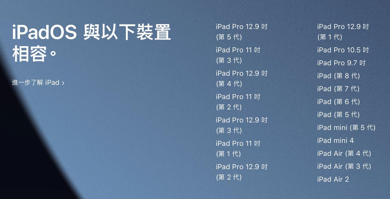iPadOS 15 支援裝置