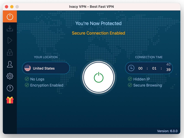 IVacy VPN 顯示連線時間