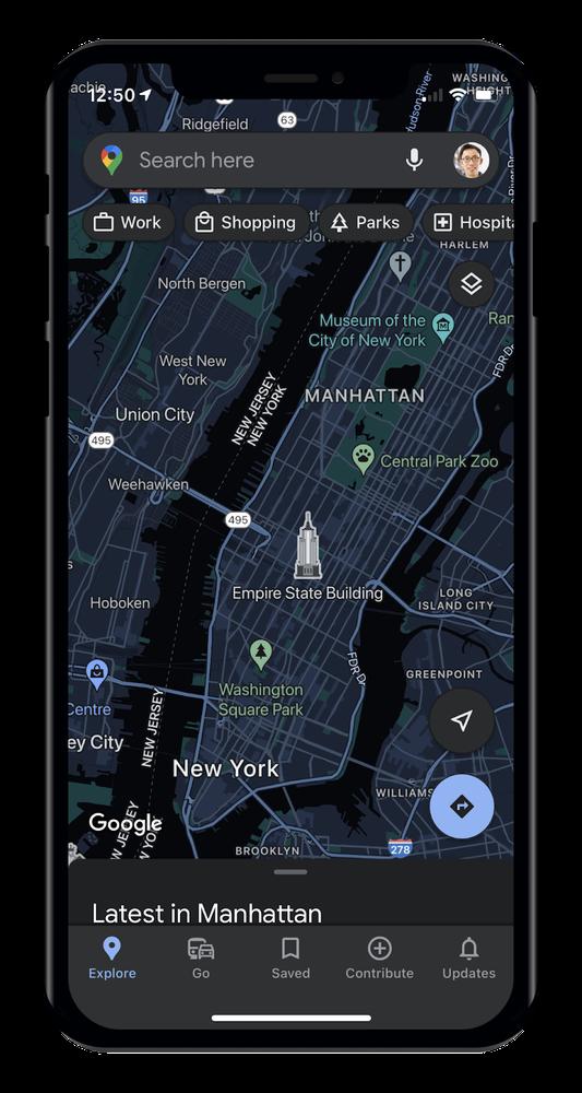 Google 地圖支援 iOS 深色主題