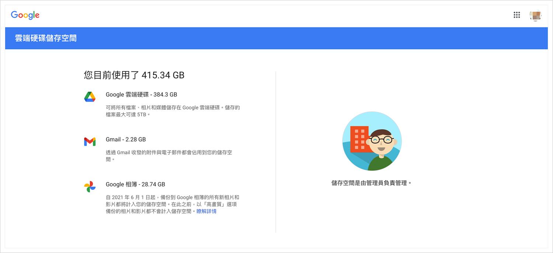 Google 儲存空間限制