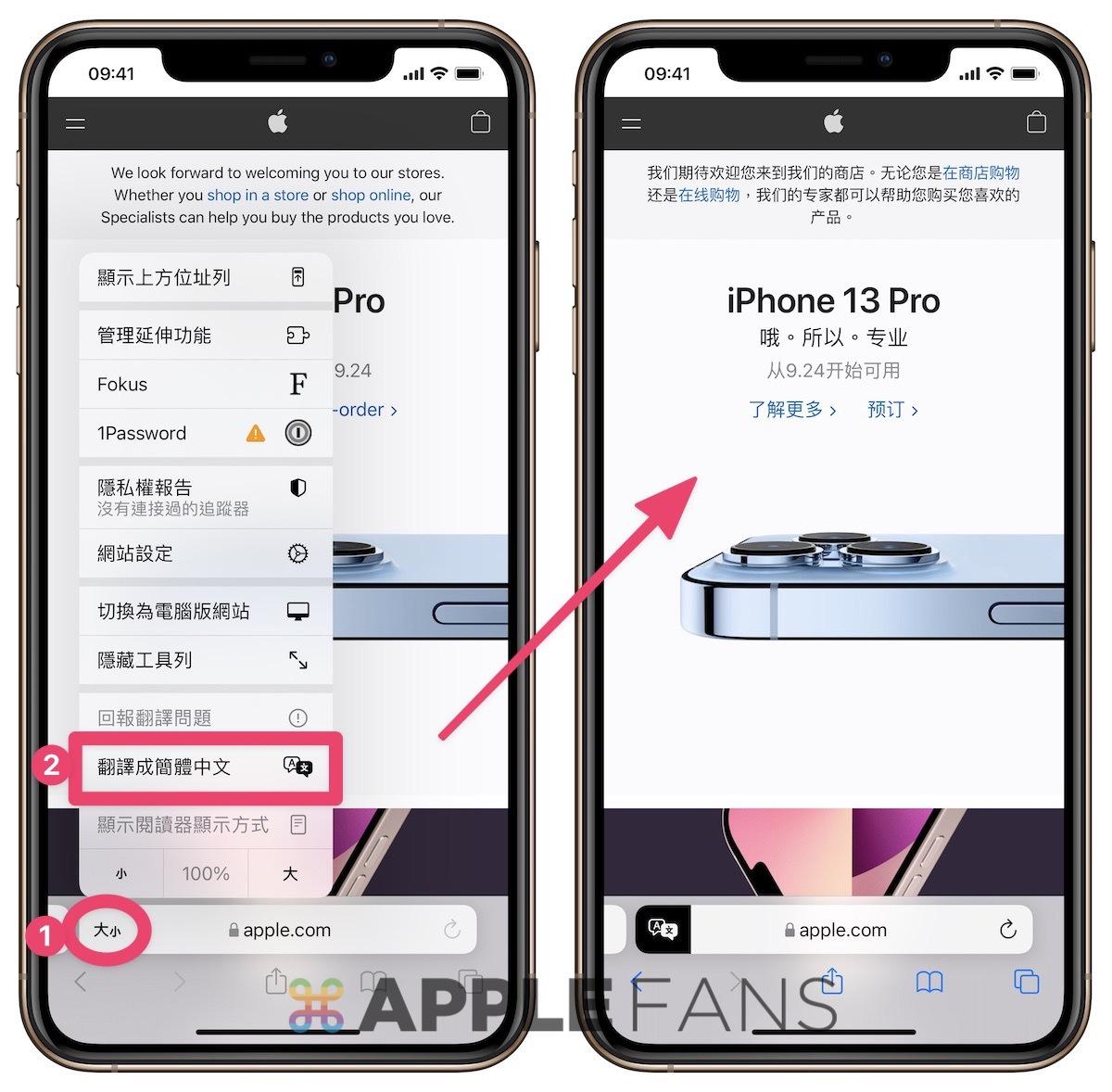 iOS 15 Safari - 網頁翻譯