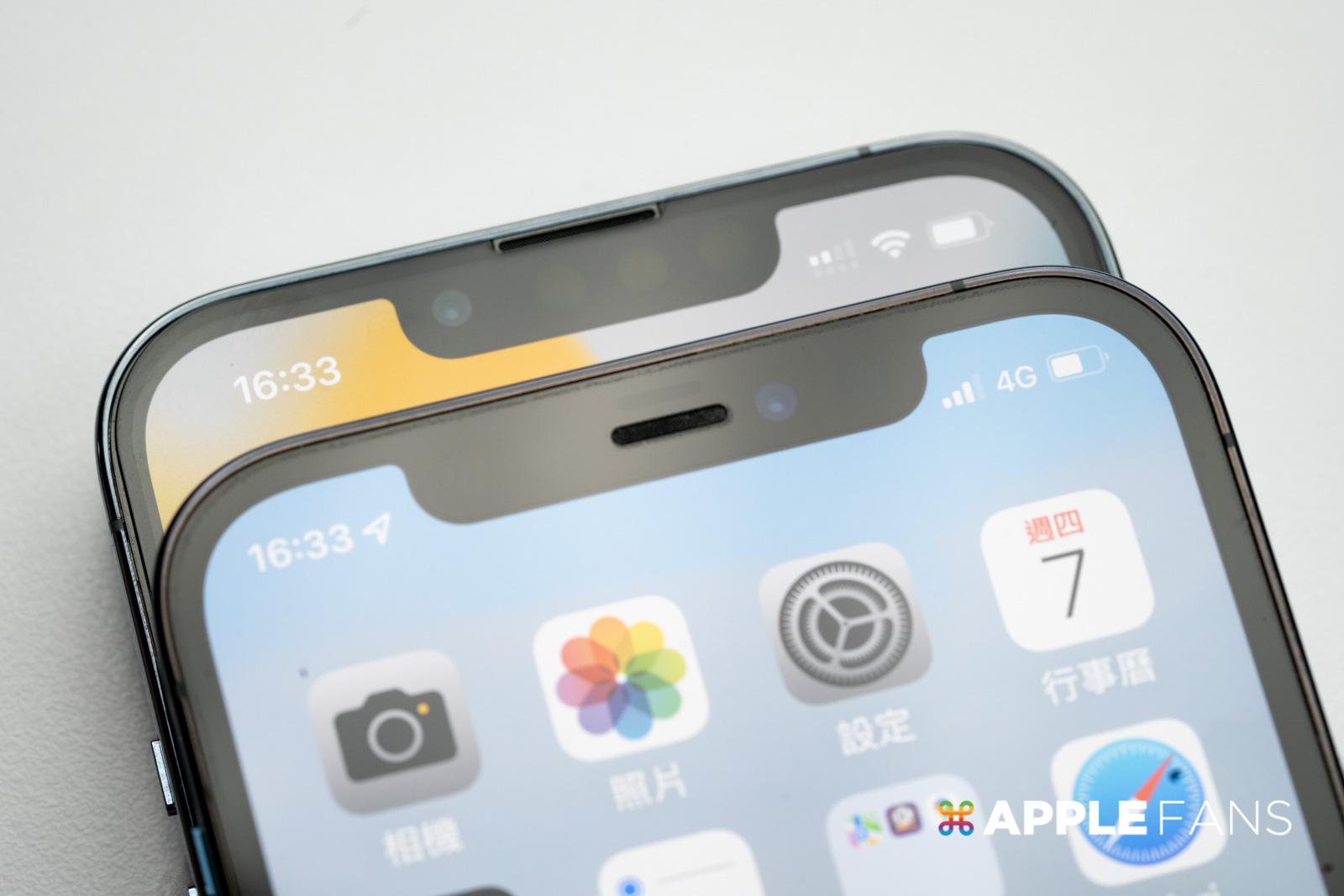 iPhone 12 Pro 與 iPhone 13 Pro 前鏡頭位置改變